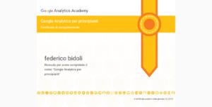 Certificazione Google Analytics Federico Bidoli