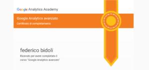 Certificazione Google Analytics avanzato Federico Bidoli